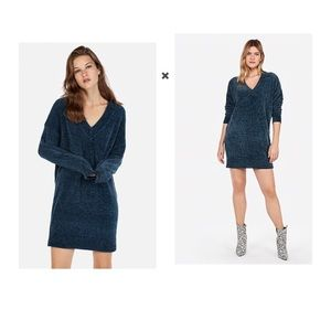 Express V Neck Shift Blue Chenille Sweater Dress